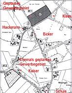 Wippinger Karte mit dem geplanten Gewerbegebiet