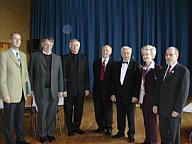 von links: Hermann Gerdes, Pastor Bolmer, Prof. Rahe, Bernhard Terhalle, Gerd Holtermann, Änne Holtermann, Josef Schomaker