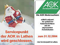 AOK-Servicepunkt schließt zum 31.12.04