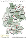 Karte mit den Gentechnikfreien Regionen in Deutschland