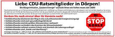 Anzeige der Bürgerinitiative Saubere Energie