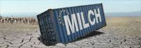 Container mit Milch in Dürregebiet