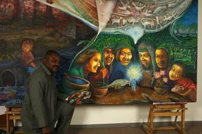 Der nigerianische Künstler Tony Nwachukwu gestaltet das Hungertuch 2009.