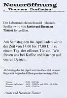 Flyer zur Neueröffnung von Timmers Dorfladen