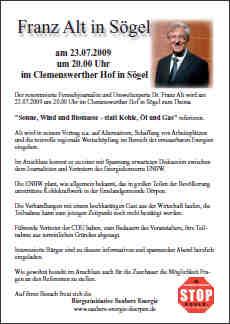 Flyer zur veranstaltung mit Franz Alt
