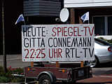 Hinweis auf RTL-Sendung in Dörpen, Hauptstraße