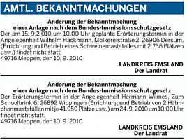 Absage der Erörterungstermine im Amtlichen Teil der EZ vom 13.09.2010