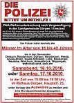 Plakat mit dem Aufruf zur Teilnahme an der freiwilligen Speichelprobe