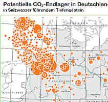 Karte der Standorte von CO2-Endlagern