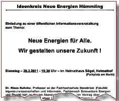 Einladung zur Veransatltung in Sögel am 29.03.2011
