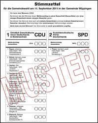 Wahlzettel für die Gemeinderatswahl Wippingen