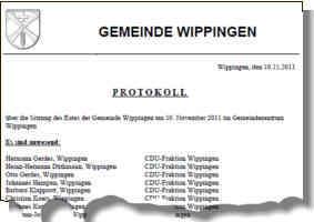 Protokoll der Gemeinderatssitzung vom 10.11.2011