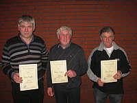 Vereinsmeister über 60: 1. Josef Speller, 2. Heinz Hempen, 3. Gerd Meyer