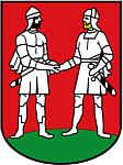 Stadtwappen von Bünde/Westfalen mit den Rittern Hengest und Horsa