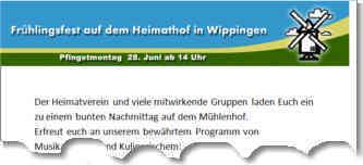 Flyer zum Mühlenfest Wippingen