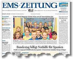 Titelseite der Ems-Zeitung vom 20.07.2012