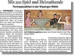 EZ-Bericht über Ferienpassaktion an der Mühle vom 09.08.2012