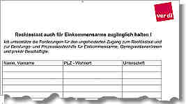 Unterschriftenliste von Verdi