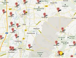 Karte mit Teilnehmergruppen an der 72-Stundenaktion