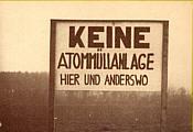 Protestschild in Wippingen 1976