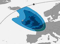 Enger Footprint auf die britischen Inseln