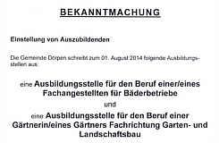 Bekanntmachung der Gemeinde Dörpen