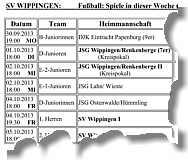 Die Spiele der Kalender-Woche 47 des SV Wippingen