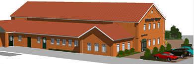 Nord-West-Ansicht der neuen Mehrzweckhalle