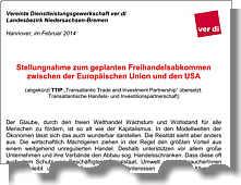 Stellungnahme des Verdi-Landesbezirks Niedersachsen-Bremen zum geplanten Freihandelsabkommen zwischen der Europäischen Union und den USA