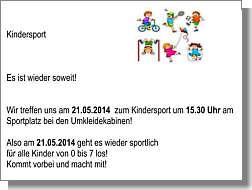 Einladung zum Kindersport