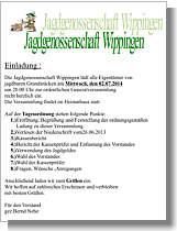 Einladung zur Generalversammlung der Wippinger Jagdgenossenschaft