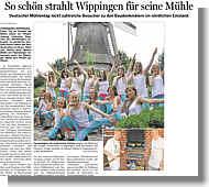 Mühlenfest Wippingen 2014, Ems-Zeitung vom 10.06.2014