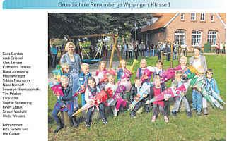 Foto der Erstklässler Renkenberge-Wippingen, Ems-Zeitung vom 24.09.2014