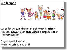 Flyer zum Kindersport