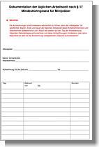 Formblatt der Minijobzentrale zur Erfassung der Arbeitszeiten