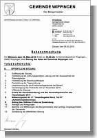 Bekanntmachung der Gemeinde Wippingen zur Gemeinderatssitzung