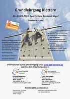 Ausschreibung für Grundlehrgang Klettern