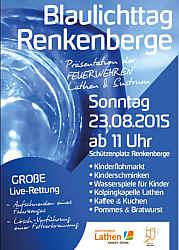 Plakat zum Blaulichttag in Renkenberge