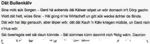 Plattdeutsche Geschichte Dät Bullenkälv