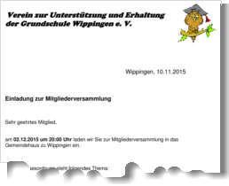 Einladung zur Generalversammlung des Schulfördervereins