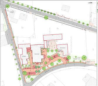 Plan der Gestaltung des Umfelds der Mehrzweckhalle / Büro für Landschaftsplanung Gertken