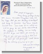 Brief von Schwester Ancy P.A.