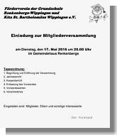 Einladung zur Mitgliederversammlung des Fördervereins