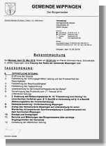 Einladung zur Gemeinderatssitzung am 23.5.16 in Wippingen