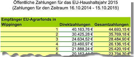 Die Empfänger von EU-Geldern in Wippingen