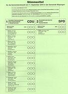Stimmzettel für Gemeinderatswahl Wippingen