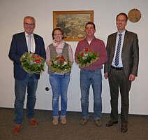 v.l.: Bürgermeister Hermann Gerdes, 2. stellvertr. Bürgermeisterin Barbara Klapprott, 1. stellvertr. Bürgermeister Johannes Hempen, DörpensSamtgemeindebürgermeister Hermann Wocken