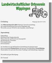 Flyer des Landwirtschaftlichen Ortsvereins Wippingen