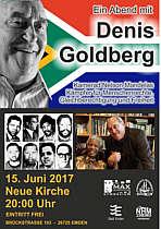 Plakat zum Vortrag von Dennis Goldberg