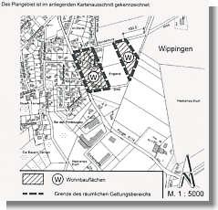 Plan der Änderung des Flächen